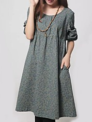 Women's Casual/Daily / Plus Size Street chic Dress,Print Round Neck Knee-length Long Sleeve Blue / Green Polyester Spring