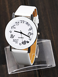 Women's Fashion Watch Japanese Quartz PU Band White