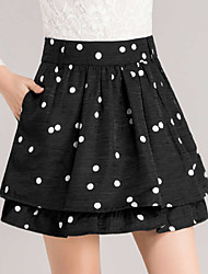 Women's Polka Dot Black Skirts,Casual  Day  Simple Above Knee