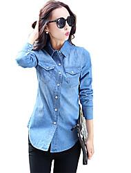 Women's Solid Blue Shirt,Shirt Collar Long Sleeve