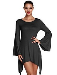 Women's Simple Solid Loose Dress,Round Neck Above Knee