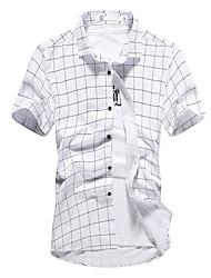 2016 new summer men's Shirt Mens Plaid Cotton Short Sleeved Shirt trend of Korean tide