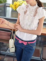 Women's Ruffle Solid White Shirt,Stand Short Sleeve