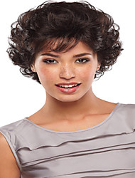 Popular European Lady Natural Color Short Curly Synthetic Wig