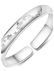 Women's Bracelet Sterling Silver Plated Chinese Flower Pattern Cuff Bracelet Wedding Bride