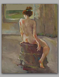 Naked Girl Sat on Chair Framed Wall Art Beautiful Nude Painting