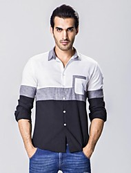 Men's Striped / Patchwork Casual Shirt,Cotton Long Sleeve Blue / White