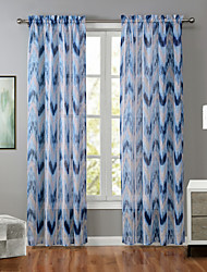 Um Painel Moderno Riscas Azul Sala de Estar Poliéster Painel Cortinas cortinas