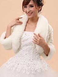 Wedding  Wraps / Fur Vests / Hoods & Ponchos Capelets 3/4-Length Sleeve Faux Fur White Wedding / Party/Evening Draped Hidden Clasp