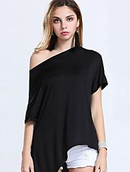Damen Solide Sexy / Retro Lässig/Alltäglich T-shirt,Rundhalsausschnitt Sommer Kurzarm Rot / Weiß / Schwarz / Braun Acryl / Nylon