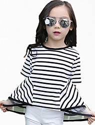 Girl's Black / Red Tee,Stripes Cotton Summer