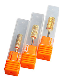 "3Pcs/set 5mm""6mm""6.5mm"" Pro Cylinder Electric Gold Carbide art Nail Care Drill Bit Accessories Tool File"