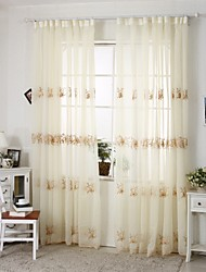 Two Panels Country Coffee Living Room Sheer Curtains Shades