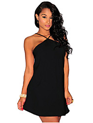 Women's Casual/Daily Sexy Sheath Dress,Solid Halter Mini Sleeveless Red / White / Black / Yellow Polyester Summer