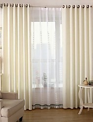 Two Panels European Solid White Living Room Polyester Blackout Curtains Drapes