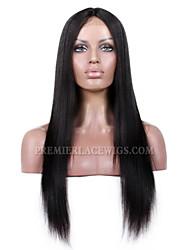 frente kim rendas perucas parte reta natural, preto natural, o cabelo humano remy virgem brasileiro médio