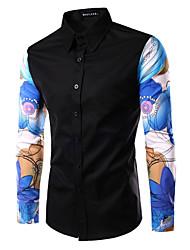 Men's Fashion Print Patchwork Slim Fit Long Sleeve Shirt, Cotton/Polyester/Print