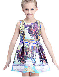 Girl's White Dress,Floral Cotton / Polyester Summer