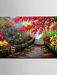 Mini Size E-HOME Oil painting Modern Maple Forest Trail Pure Hand Draw Frameless Decorative Painting