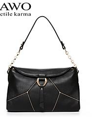 NAWO Women Cowhide Shoulder Bag Black-N152091