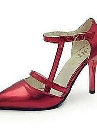 DamenKleid / Lässig-Kunstleder-Stöckelabsatz-Spitzschuh-Rot / Gold