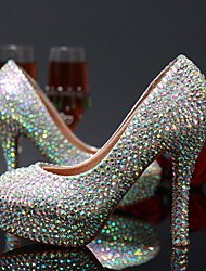 Women's Spring Summer Fall Winter Leather Wedding Dress Party & Evening Stiletto Heel Crystal Silver
