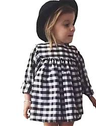 Girl's Black Dress,Check Cotton Spring / Fall