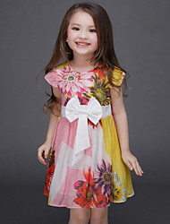 Girl's Pink Dress,Floral Rayon Summer
