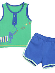 Girl's Clothing Set,Cotton Summer Green