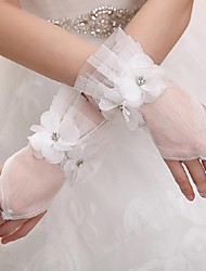 Wrist Length Fingerless Glove Tulle Bridal Gloves / Party/ Evening Gloves Spring / Summer / Fall / Winter Floral