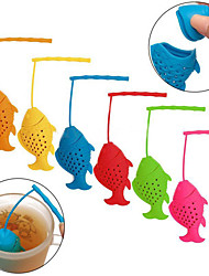 Silicone Fish Shape Loose Tea Leaf Infuser Spice Herbal Strainer Filter Diffuser(Random Color)
