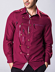 Men's Long Sleeve Shirt,Cotton Casual Solid