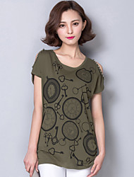 Women's Clock Printing White / Black / Green T-shirt,Round Neck Short Sleeve Strapless Beading