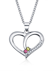 925 Sterling Silver Jewelry Necklace Pendant Heart-shaped Jewelry Female Clavicle Chain with Diamonds