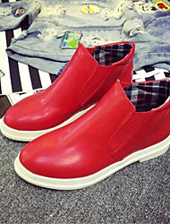 Women's Shoes Leatherette Flat Heel Fashion Boots Boots Outdoor / Casual Black / Red / White