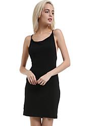 mini vestido da cabeçada sem encosto das mulheres, poliéster bodycon preto / sexy