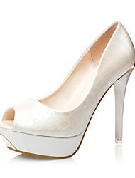 Women's Shoes  Stiletto Heel Heels / Peep Toe / Open Toe Sandals Casual Black / White / Silver / Gold