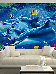 JAMMORY Art Deco Wallpaper Contemporary Wall Covering,Non-woven Paper Large Mural Dolphin Marine