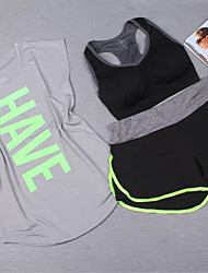 Running Clothing Sets/Suits Women's Short Sleeve Breathable Polyester Yoga / Fitness / Leisure Sports / Running Sports Sports Wear