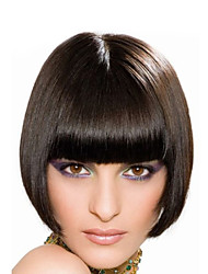 "8"" Short Bob Wigs With Bangs None Lace Virgin Human Hair Short Wigs Uprocessed Human Straight Lace Front Bob Wigs"