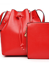 Women PU Barrel Shoulder Bag / Satchel / Clutch-Pink / Purple / Red / Black