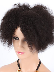 "8"" Kinky Curly Natural Color Machine Made Wigs Virgin Brazilian Human Hair Wigs With Baby Hair For Black Women"