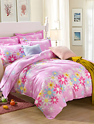 Yellow and pink flowers 100% Cotton Bedclothes 4pcs Bedding Set Queen Size Duvet Cover Set