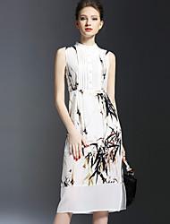 De las mujeres Recto Vestido Vintage Estampado Midi Escote Chino Seda