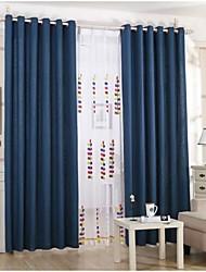 Deux Panneaux Rustique / Européen Solide Noir / Bleu Salle de séjour Lin Rideaux occultants rideaux
