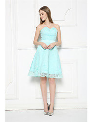 Knee-length Lace Bridesmaid Dress-Sky Blue A-line Strapless