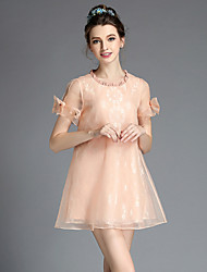 Fashion Women Vintage Casual Elegant Pleat Neck Lace Organza Plus Size Short Sleeve Dress