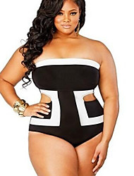 Women's Plus Size Large Size Hollow Out One Pieces,High Rise / Color Block Wireless