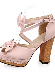 Women's Shoes Leatherette Chunky Heel Heels Sandals Party & Evening / Dress / Casual Black / Pink / Purple / White