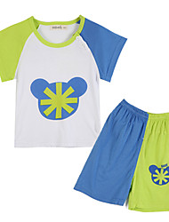 Girl's Clothing Set,Cotton Summer / Spring Blue